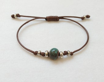 Bead bracelet. Cord bracelet. Ceramic bead bracelet. Silver cord bracelet. Turquoise blue bracelet. Bracelet for women.Summer bracelets 2017