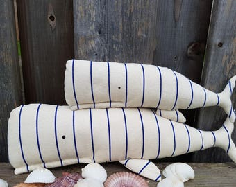 Sperm Whale, Set of 2 Whales, Whale pillow, plush nautical nursery ,Aquatic stuffed toy, nautical toddler bedroom, plush whale, baby shower