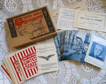 2 Card Games United States Geography & Authors Parker Brothers Vintage at Quilted Nest