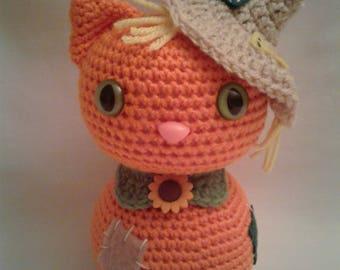 SCARECROW CAT= Crochet Amigurumi - Crochet Cat- Handmade Crochet Amigurumi - Amigurumi Cat