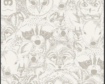 Menagerie Timber Wolf from the Indian Summer Collection by Sarah Watson Art Gallery Fabrics Premium Cotton Quilting Fabric One Yard