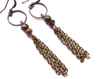 dangle earrings, bronze and golden brown bead. .