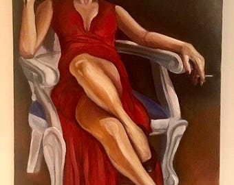 """Titling this piece """"Seduction"""" 36x24 inches. Oil on Canvas"""