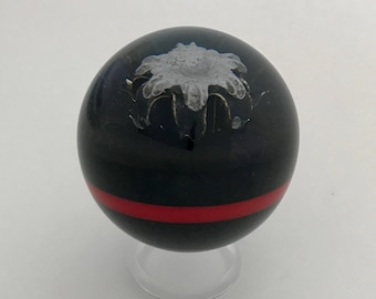 Thin Red Line Bullet Sphere - .45ACP Black Talon or Multiple Other Bullet Options - Clear Acrylic Stand Included