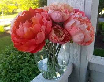 Coral Peonies & Ranunculus Silk Flower Arrangement in Glass Vase with Faux Water, Acrylic Water, Luxury Flowers