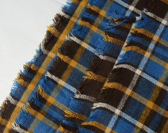 """1 3/4 yards Vintage Plaid Fabric Flannel 1970s Heavy 66"""" x 44"""" wide  - 371 L10"""