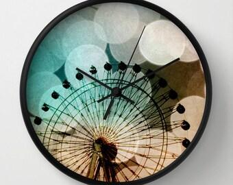Art Wall Clock At the Fair fine art photography Ferris Wheel home decor