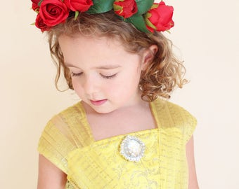 Belle Inspired Beauty and the Beast Red Rose Crown