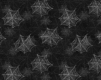Halloween Fabric, Boooo Ville, Spider Webs on Black Background, by Benartex 2430