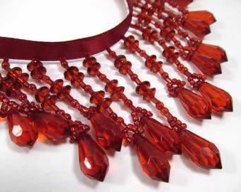 Scarlet Red 3.25 Inch Graduated Medium Beaded Fringe Decorator Trim