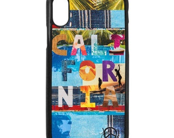 NEW iPhone X Case, CALIFORNIA TAPESTRY, Betty Designs Collab. Modern, Surf, Long Board, Female Surfer, iPhoneX, Beach, Art, black case color