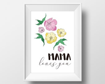 Printable art Mama loves you, art print, art wall, digital print, digital, art, flowers, blue, decoration,MAMA loves you