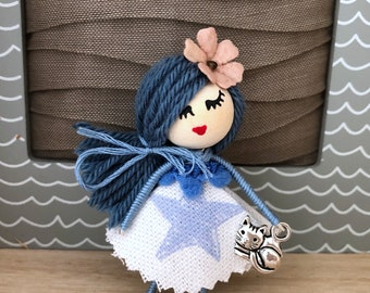 Doll brooch with Cat and star