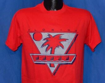 80s Florida Palm Trees & Sail Boats Red Vintage t-shirt Medium