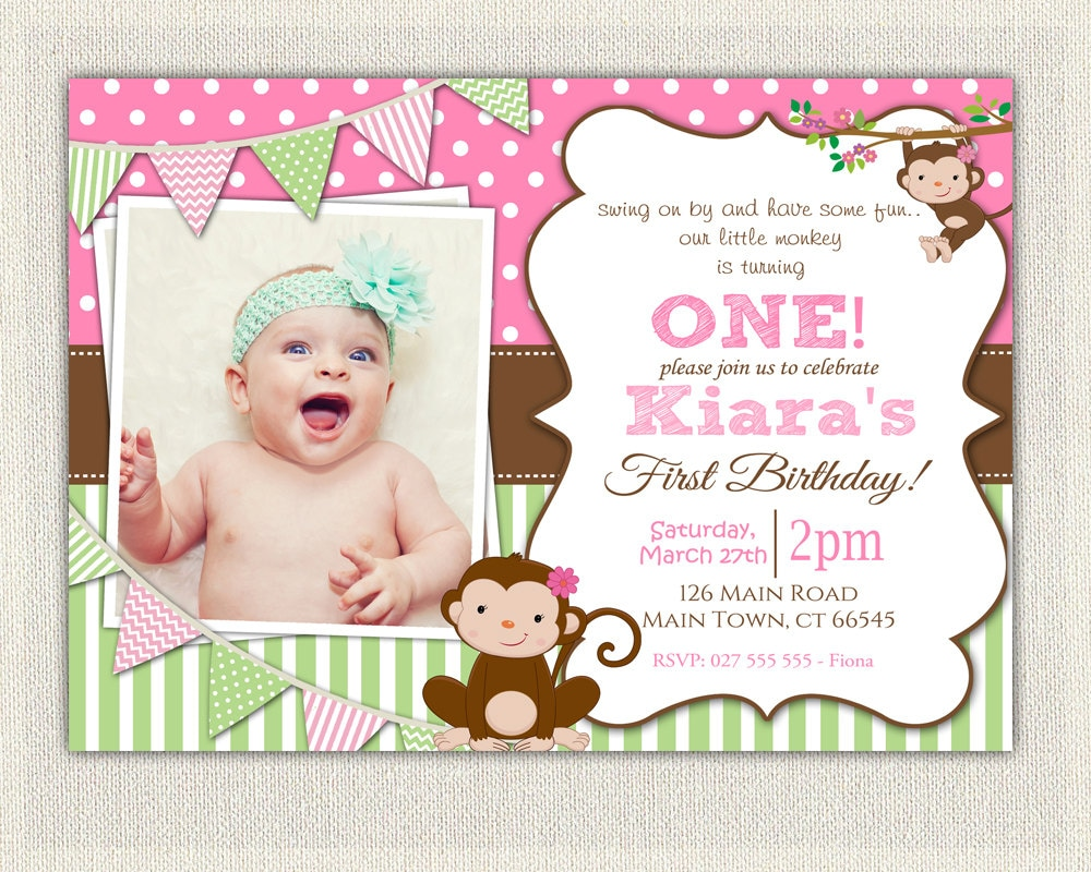 Girls Pink and Green Monkey 1st Birthday Invitation /