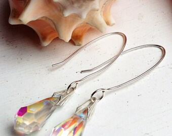Sterling Silver Crystal Drop Earrings on an Oval Ear Wire