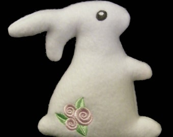 Little White Rabbit Stuffed Plushie with Flowers