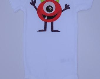 Applique Baby Onesie 9M Red Alien/Monster