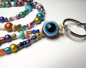 Multi Color Beaded Id Badge Clip, Evil Eye KeyChain, Id Lanyard, Beaded Badge Holder, One of a Kind by Eyewearglamour
