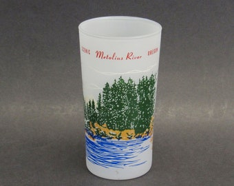 Vintage Metolius River Oregon Frosted Souvenir Glass (E10574)