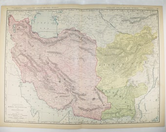 Antique maps vintage maps and old prints by oldmapsandprints large map of middle east persia map afghanistan persian gulf map 1912 rand mcnally iran map pakistan middle eastern decor vintage art map gumiabroncs Choice Image