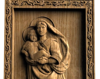 Madonna and child religious wall art Wood gift Gift for her 5th Anniversary gift Birthday gift for women Wood carving The Sistine Madonna