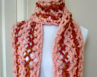"""Peach and Gold Crocheted Scarf 6' x 8"""""""