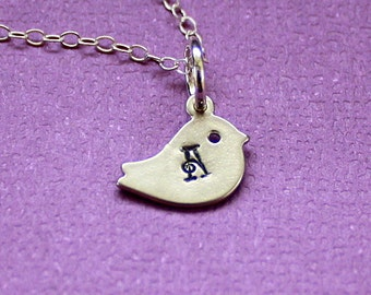 Tiny Bird Initial Necklace - Hand Stamped - Personalized