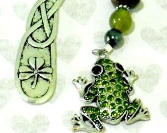 GEMSTONE Sequined FROG, Charm BOOKMARK, Tibetan Silver, Beaded Charm, Metal Hook Bookmark