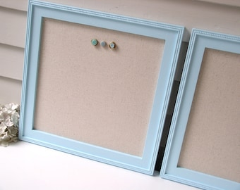 Pair of Cottage Magnetic Bulletin Boards with Robins Egg Blue Wood Frames - Magnet Board 14.5 x 14.5 with Natural Cotton Fabric