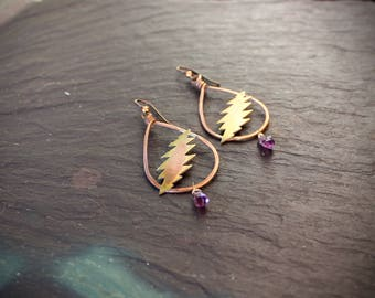 Grateful Dead Bolt earrings / 13 points / Super 7 Melody stone / hoop handmade jewelry / jerry garcia / dead and company / heady phish