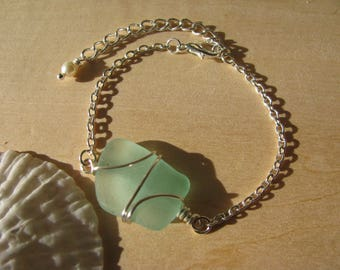 Green Sea Glass Bracelets Beach Wedding Jewelry Bridesmaid Gifts Real Beach Glass Natural seaglass