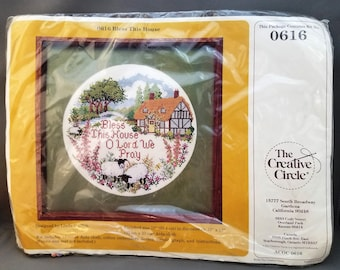 Creative Circle 0616, Bless This House, Cross Stitch Kit, Design by Linda Griffith, 10 inches in diameter on 13x13 inch cloth, DIY kit, 1984