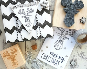 Christmas Geometric Stag Rubber Stamp  - Christmas Stamper - Reindeer Stamp - Wrap -  Card Making - Pattern - Scrapbooking - Contemporary