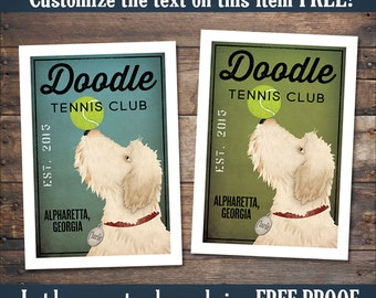 Doodle Goldendoodle Labradoodle Wheaten TERRIER FREE Customization Tennis Baseball Soccer Golf Football Billiards Sign Archival Giclee Print