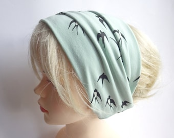 Swallows - hair band hair bands hairband extra wide, yoga, wellness, eco, mint