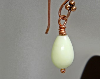 Chrysoprase Teardrop Copper Earrings; Green Gemstone Dangle; Workplace Jewelry; Birthday Anniversary Gift for Her