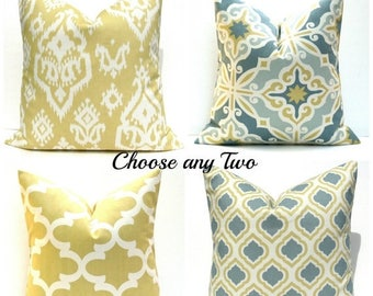 15% Off Sale Decorative Pillow Covers Gold Pillow Grey Yellow Pillows TWO Pillows Blue Gold Pillow Moroccan , quatrefoil , couch pillows  cu