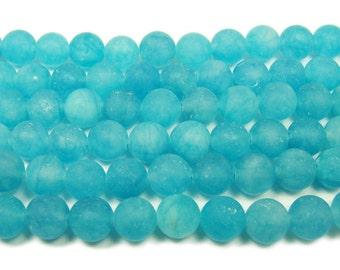 Sea Blue Jade Matte Round Gemstone Beads