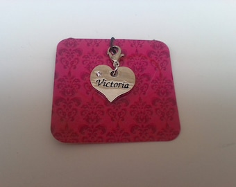 The name of Victoria jewelry heart pendant or Keyring