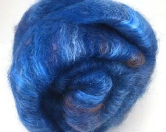 Spinning Fiber - alpaca, silk, and mohair smooth batt - Daphne Sapphire - 4 oz
