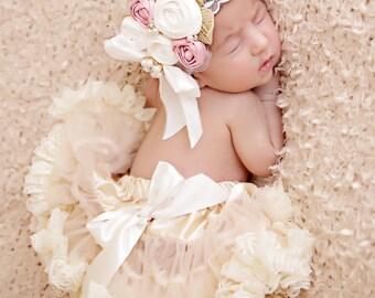 rosette baby headband, girls couture headband, lace vintage girls headband, newborn headband, infant girls headband, baby, kids, posh peanut