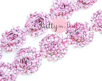GREY and PINK QUATREFOIL Shabby Rose Trim- Shabby Flowers- 1/2 Yard or 1 Yard- Shabby Chiffon Trim- Wholesale Shabby Flowers