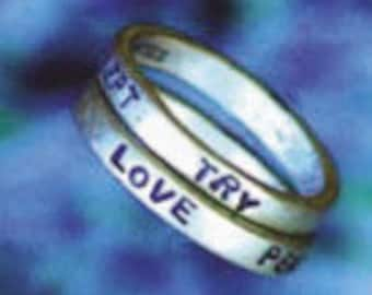 Try Make Express Accept Peace Magic Love Joy 2 Ring Stamped Word Ring Set