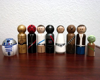 9 Piece set of Star Wars Hand painted wooden peg people Princess Leia, Darth Mal, Darth Vader, Han Solo, Luke Skywalker, Yoda, R2D2 & C3PO