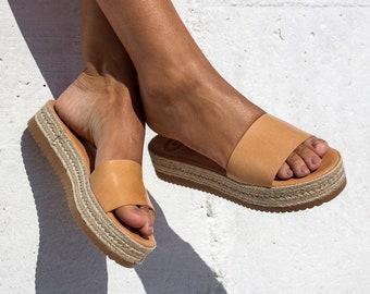 Natural color color Espadrille sandals, Leather Platform sandals, summer sandals, Greek sandals, Women sandals, slide sandals