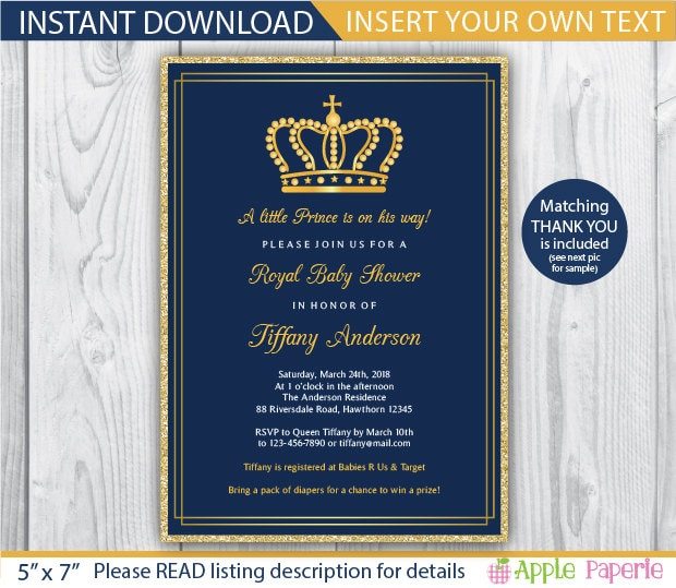 Baby shower invitation boy royal invitation royal baby zoom filmwisefo