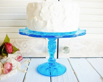 Vintage Blue Weisher Cake Stand, 8 Inch Moon And Stars Vintage Wedding Cake Stand Tidbit Stand Something Blue