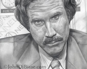 Drawing Print of Will Ferrell as Ron Burgundy in Anchorman