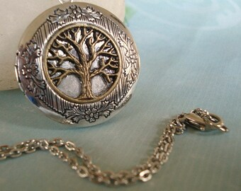 Silver Tree Locket Necklace Silver Locket Round Silver Tree Locket Personalized Jewelry Family Locket